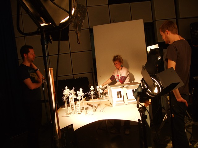 Jöns Mellgren, Sara Deane and Matthias Hogg around the set