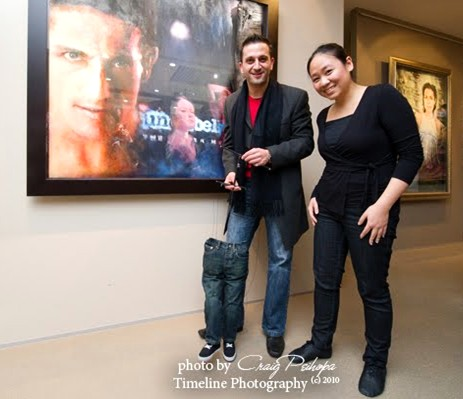 "Kay Yasugi with actor Salvatore Coco and ""Billy Jean"" marionette at the Jeans for Genes exhibition launch, Sydney"
