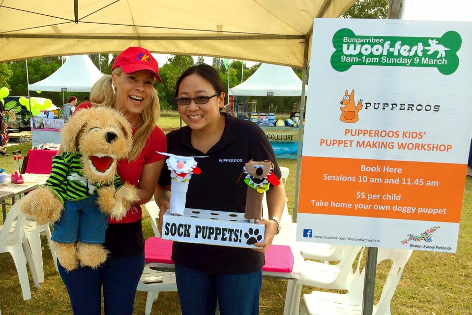 Kay Yasugi with Lindy Jane (LJ) the ventriloquist and her dog puppet 'Doggus Interruptus'
